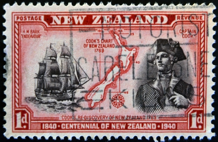 NEW ZEALAND - CIRCA 1940: stamp printed in New Zealand shows a portrait of Captain Cook, the H.M Bark Endeavour and maritime chart of the islands, circa 1940  Stock Photo - 17742045