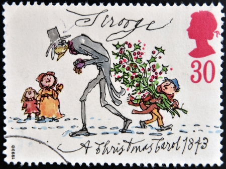 UNITED KINGDOM - CIRCA 1993: A stamp printed in Great Britain shows Scrooge from Christmas, circa 1993
