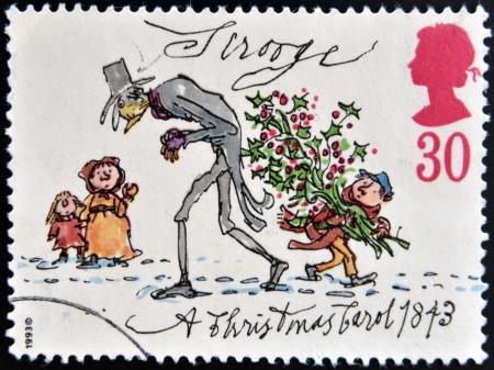 philatelist: UNITED KINGDOM - CIRCA 1993: Ein Stempel in Gro�britannien gedruckt zeigt Dagobert von Weihnachten, circa 1993 Lizenzfreie Bilder