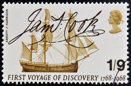 perforated stamp: UNITED KINGDOM - CIRCA 1968: A stamp printed in Great Britain shows Captain Cooks Endeavour and Signature, circa 1968