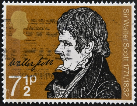 sir walter scott: UNITED KINGDOM - CIRCA 1971: A stamp printed in Great Britain shows portrait of Sir Walter Scott (1771-1832), circa 1971 Editorial