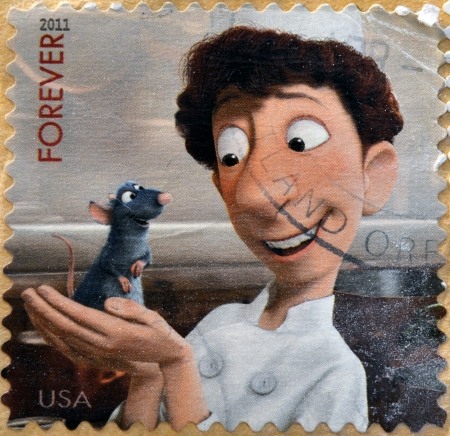 UNITED STATES OF AMERICA - CIRCA 2011: A stamp printed in USA showing an image of Ratatouille movie, circa 2011.