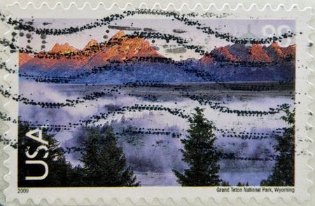 UNITED STATES OF AMERICA - CIRCA 2009: Stamp printed in the USA shows Grand Teton National Park, Wyoming, circa 2009  photo
