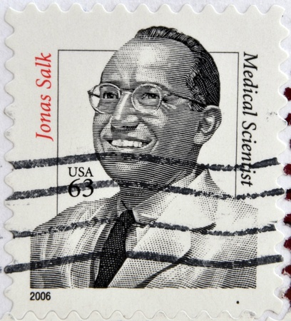 UNITED STATES OF AMERICA - CIRCA 2006: A stamp printed in USA shows Jonas Salk, medical scientist, circa 2006 Stock Photo - 17742008