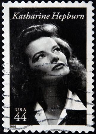 アメリカ合衆国 - 年頃 2010年: 米国ショー キャサリン ・ ヘプバーン、年頃 2010年で印刷スタンプ 報道画像
