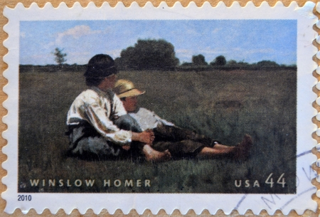 homer: UNITED STATES OF AMERICA - CIRCA 2010: A stamp printed in USA shows Boys in a Pasture by Winslow Homer, circa 2010
