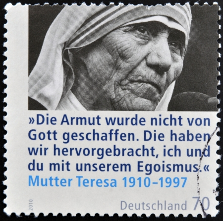 GERMANY - CIRCA 2010: A stamp printed in Germany shows mother Teresa, circa 2010  Editorial