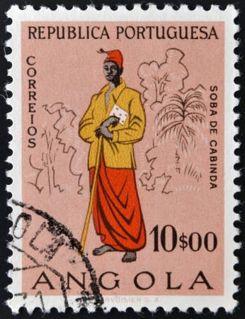 ANGOLA - CIRCA 1957  A stamp printed in Portugal dedicated to people of Angola, circa 1957 photo