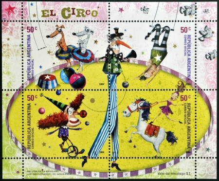 ARGENTINA - CIRCA 2004: stamps printed in Argentina dedicated to circus, circa 2004
