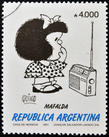 ARGENTINA - CIRCA 1991: A stamp printed in Argentina shows Mafalda, a comic strip written and drawn by Argentine cartoonist Quino, circa 1991