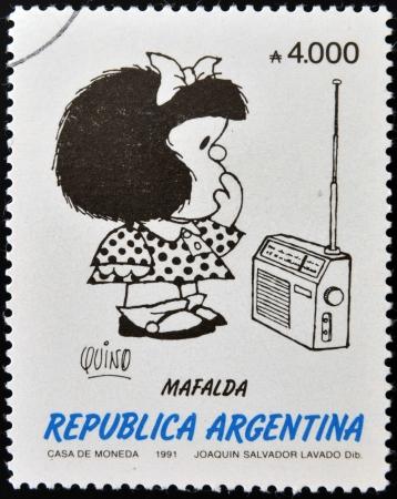 ARGENTINA - CIRCA 1991: A stamp printed in Argentina shows Mafalda, a comic strip written and drawn by Argentine cartoonist Quino, circa 1991 Editorial