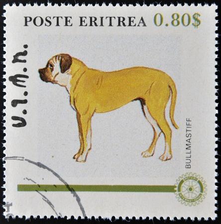 bullmastiff: ERITREA - CIRCA 1984: A stamp printed in Eritrea shows a dog, bullmastiff, circa 1984