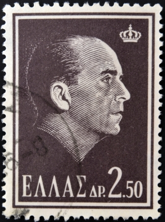 stempeln: GREECE - CIRCA 1964: A stamp printed in Greece shows King Paul of Greece, circa 1964.