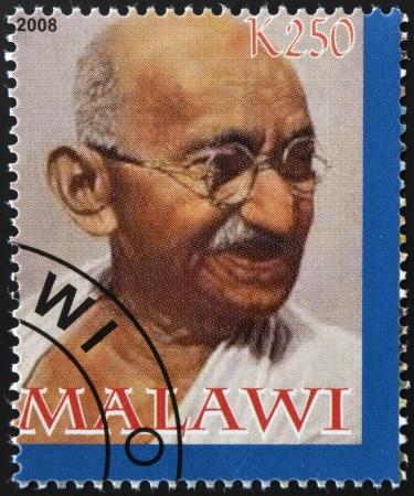 MALAWI - CIRCA 2004: A stamp printed in Malawi shows Mohandas Karamchand Gandhi, circa 2004