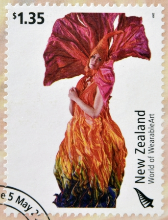meridian: NEW ZEALAND - CIRCA 2004: Stamps printed in New Zealand dedicated to World of WearableArt shows Meridian by Rowan McLennan, circa 2004  Editorial