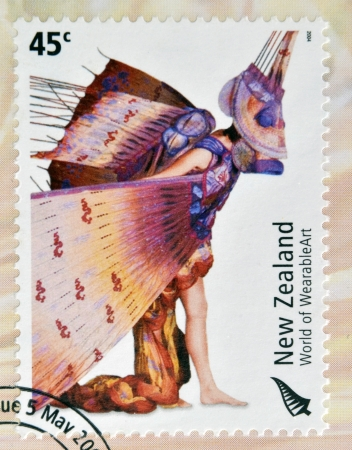 dragon fish: NEW ZEALAND - CIRCA 2004: Stamps printed in New Zealand dedicated to World of WearableArt shows Dragon Fish by Susan Holmes , circa 2004  Editorial