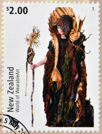 NEW ZEALAND - CIRCA 2004: Stamps printed in New Zealand dedicated to World of WearableArt shows Cailleach Na Mara (Sea Witch) by Jan Kerr , circa 2004  Stock Photo - 18045672
