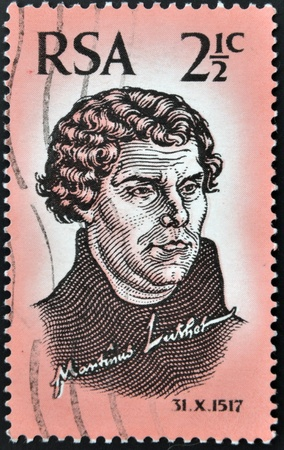 rsa: SOUTH AFRICA - CIRCA 1967: a stamp printed in RSA shows image of Martin Luther, circa 1967 Editorial