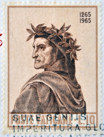 VATICAN - CIRCA 1965: A stamp printed in Vatican dedicated to Anniversary of Birth of Dante, circa 1965