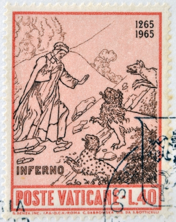 VATICAN - CIRCA 1965: A stamp printed in Vatican dedicated to Anniversary of Birth of Dante, shows Dante entrance to the inferno, circa 1965