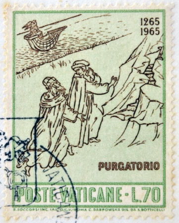 virgil: VATICAN - CIRCA 1965: A stamp printed in Vatican dedicated to Anniversary of Birth of Dante, shows Dante and Virgil at entrance to Purgatory, circa 1965