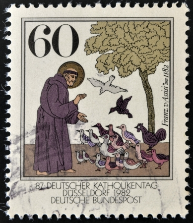 st  francis: GERMANY - CIRCA 1989: A stamp printed in Germany shows St. Francis of Assisi, circa 1989
