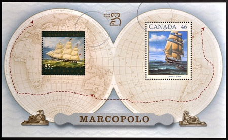 CANADA - CIRCA 1999: stamp printed in Canada, shows Sailing Ship Marco Polo, circa 1999