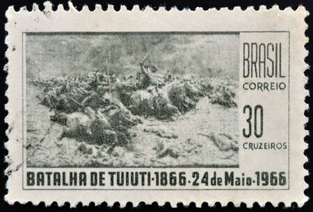 BRAZIL - CIRCA 1966: A stamp printed in Brazil shows Battle of Tuyuti, circa 1966