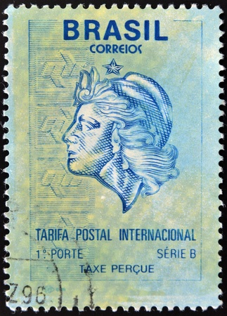 allegory: BRAZIL - CIRCA 1994: A stamp printed in Brazil shows allegory of woman, circa 1994
