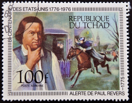chad: CHAD - CIRCA 1976: A stamp printed in Chad shows Paul Reveres Ride and Portrait by Copley, circa 1976
