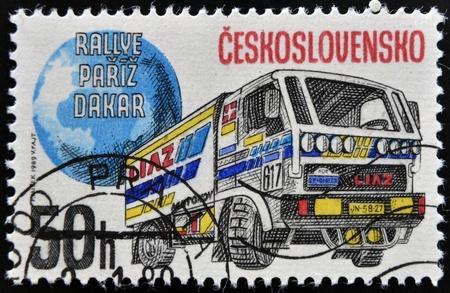 CZECHOSLOVAKIA - CIRCA 1989: A Stamp printed in Czechoslovakia devoted truck competition on Rally Paris - Dakar, circa 1989