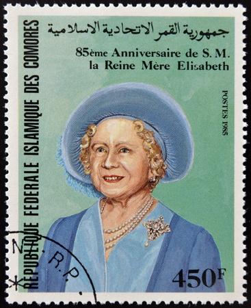 comores: COMORES - CIRCA 1985: A stamp printed in Comores shows Her Majesty the Queen Mother Elizabeth of England, circa 1985