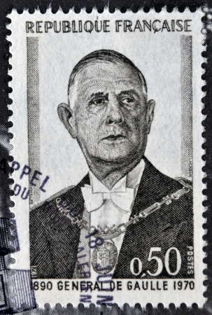 gaulle: FRANCE - CIRCA 1971: A stamp printed in France shows General de Gaulle, circa 1971.