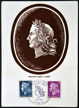 marianne: FRANCE - CIRCA 1967: A stamp printed in France shows marianne sowing, symbolizes France , circa 1967
