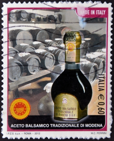 ITALY - CIRCA 2012 A stamp printed in Italy shows traditional balsamic vinegar of Modena, circa 2012