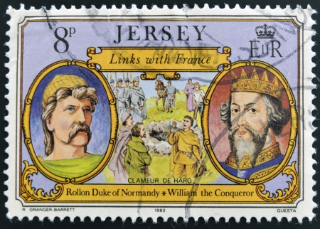 conqueror: JERSEY - CIRCA 1982: Stamp printed in Jersey shows links with France, Rollon Duke of Normandy and William the Conqueror, circa 1982 Editorial
