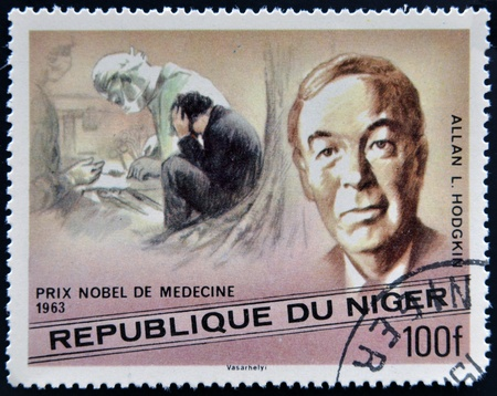 nobel: NIGER - CIRCA 1977: A stamp printed in Niger shows Nobel Prize in Medicine, Alan L. Hodgkin, circa 1977