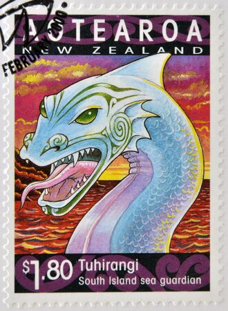 NEW ZEALAND - CIRCA 2000: A stamp printed in New Zealand shows Tuhirangi, south island sea guardian, circa  2000