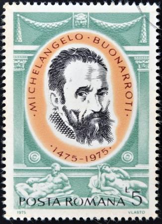 ROMANIA - CIRCA 1975: A stamp printed in Romania shows Michelangelo Buonarroti by Jacopino del Conte, circa 1975
