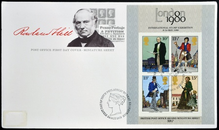 UNITED KINGDOM - CIRCA 1979: Stamps printed in Great Britain dedicated to Sir Rowland Hill, circa 1979 Stock Photo - 18251106