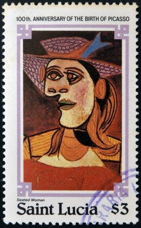 SAINT LUCIA - CIRCA 1981: stamp printed in Saint Lucia shows seated woman by Pablo Ruiz Picasso, circa 1981 Editorial