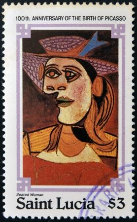 cubismo: SANTA LUC�A - CIRCA 1981: sello impreso en Santa Luc�a muestra mujer sentada junto a Pablo Ruiz Picasso, alrededor de 1981