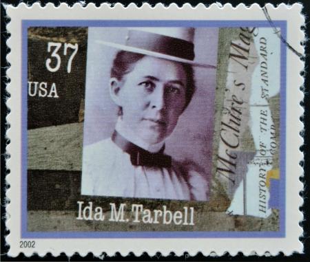ida: UNITED STATES OF AMERICA - CIRCA 2002: A stamp printed in USA dedicated to Women in Journalism, shows Ida M. Tarbell, circa 2002