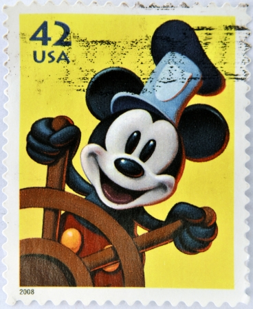 disney cartoon: UNITED STATES OF AMERICA - CIRCA 2008: A stamp printed in USA shows Mickey Mouse, circa 2008
