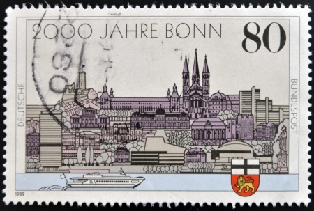 west of germany: GERMANY - CIRCA 1989: A stamp printed in Germany dedicated to the 2000th anniversary of Bonn and the 40th anniversary of the capital West Germany, circa 1989 Stock Photo