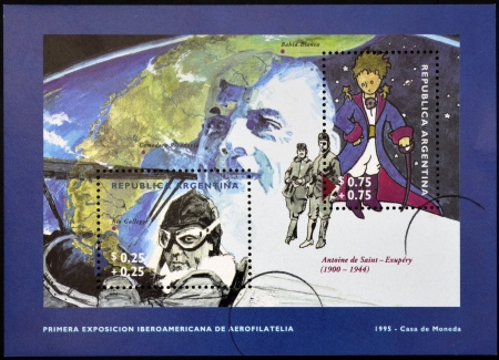 ARGENTINA - CIRCA 1995: A stamp printed in Argentina shows The Little Prince and Antoine de Saint-Exupery, circa 1995 Editorial
