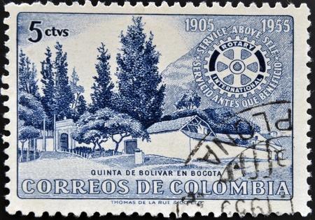 COLOMBIA - CIRCA 1955: A stamp printed in Colombia shows villa of Bolivar in Bogota, circa 1955 photo