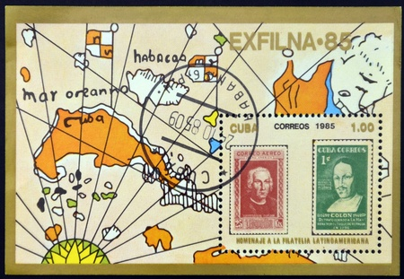 philately: CUBA - CIRCA 1985: Stamp printed in Cuba in honor of Latin American philately, circa 1985