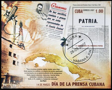 CUBA - CIRCA 2007: A stamp printed in Cuba dedicated to Cuban Press Day, circa 2007