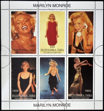 ABKHAZIA - CIRCA 2000: stamps printed in Abkhazia (Georgia) shows Marilyn Monroe, circa 2000